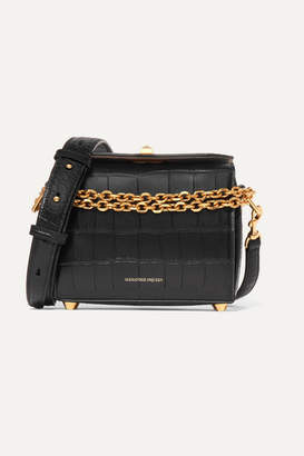 Alexander McQueen Box Bag 19 Croc-effect Leather Shoulder Bag - Black