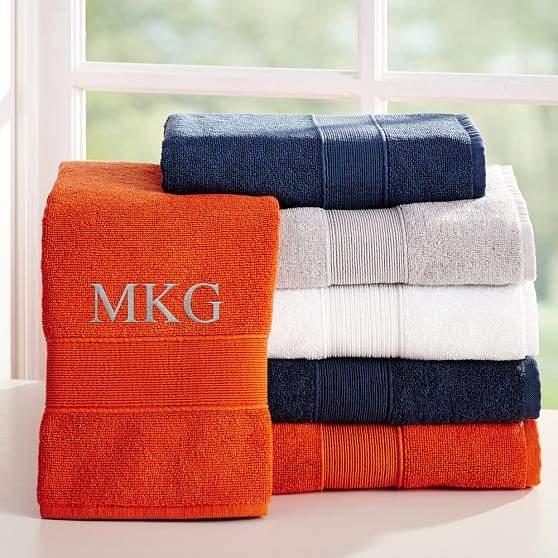 Classic Organic Bath Towels, Set of 3, Bright Navy
