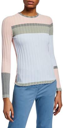 Emporio Armani Colorblock Chevron Ribbed-Knit Sweater