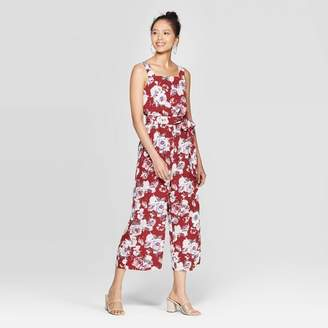 Xhilaration Women's Floral Print Sleeveless Square Neck Tie Waist Jumpsuit