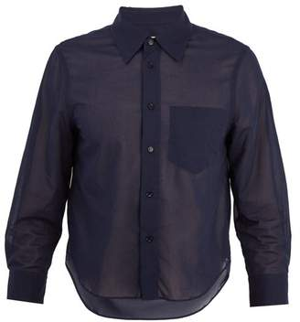 Marni Semi Sheer Cropped Sleeve Cotton Shirt - Mens - Navy
