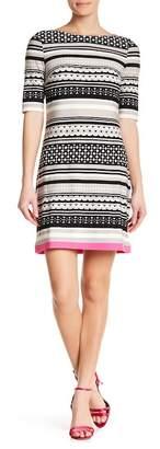 Eliza J Striped Elbow Sleeve Shift Dress
