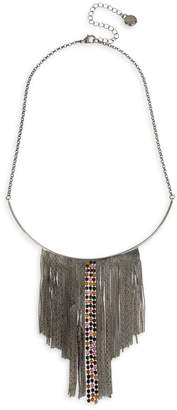 BCBGeneration Hematite-Tone Chain Fringe Bib Necklace