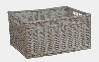 White Wash Storage Wicker Open Basket Large