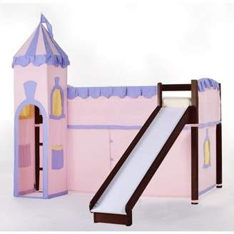 Hillsdale Kids & Teen School House Junior Loft Bed With Slide And Castle Tent, Cherry