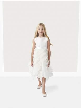 Oscar de la Renta Kids Charlotte Organza Dress With Ruffle Skirt