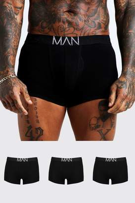 BoohoomanBoohooMAN Mens Grey 3 Pack Silver MAN Waistband Trunks, Grey