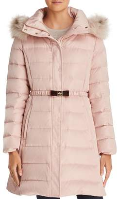 Kate Spade Belted Faux Fur Trim Puffer Coat