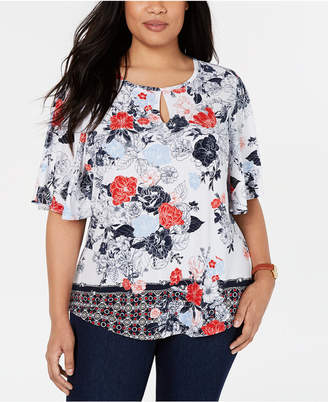 Charter Club Plus Size Flutter-Sleeve Top