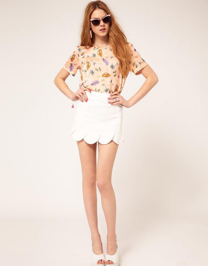 ASOS Mini Skirt With Petal Hem