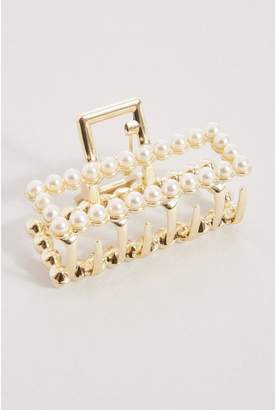 Quiz Gold Pearl Rectangle Hair Clasp