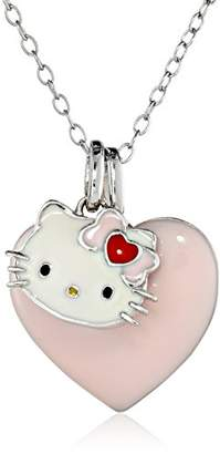 Hello Kitty Sterling Heart Bow Enamel Charm Pendant Necklace