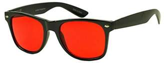 Pantone SunglassUP Colorful Classic 80's Vintage Lens Wayfarer Sunglasses (, Red)