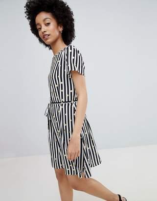 Only Metallic Spot Stripe Skater Dress