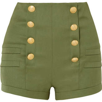 Pierre Balmain Grain De Poudre Wool Shorts - Army green