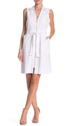 Sharagano Sleeveless Belted Shirt Dress
