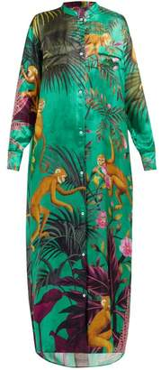 F.R.S – For Restless Sleepers F.r.s For Restless Sleepers - Monkey Print Satin Jacquard Maxi Dress - Womens - Green Multi