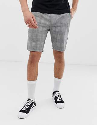 ONLY & SONS drawstring check shorts in gray