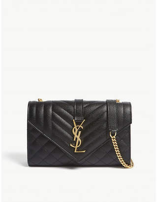 Saint Laurent Black and Gold Monogram Quilted Pebbled Leather Satchel