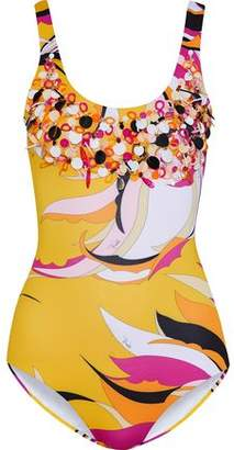Emilio Pucci Embellished Printed Swimsuit