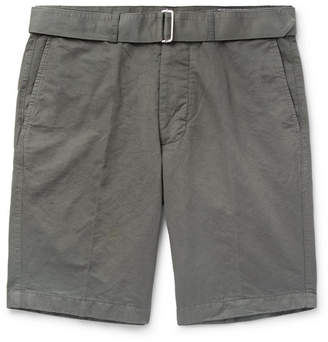 Officine Generale Julian Slim-Fit Slub Cotton And Linen-Blend Shorts