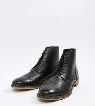 Asos Design DESIGN lace up brogue boots in black leather