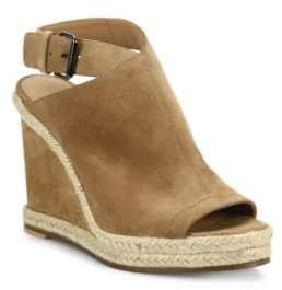 Vince Evangeline Suede Peep-Toe Espadrille Wedge Sandals