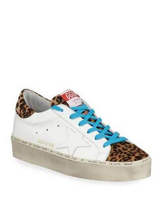 Golden Goose Hi Star Leather & Leopard Platform Sneakers