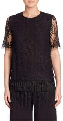 ADAM by Adam Lippes Sheer-Sleeve Pullover Lace Top