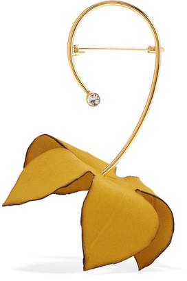 Marni Gold-tone, Cotton-canvas And Crystal Brooch - Mustard