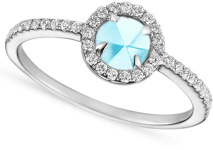 Crislu Ring, MicroLuxe Platinum over Sterling Silver Aquamarine and Clear Cubic Zirconia (5/8 ct. t.w.)