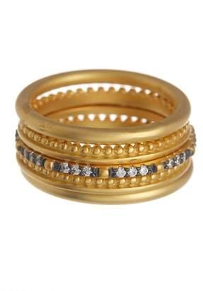 Freida Rothman 14K Gold Vermeil Lattice Motif CZ & Bead Ring Set - Set of 5 - Size 7