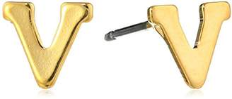 """N. 1928 Jewelry 14k Gold-Dipped""""V"""" Initial Button Stud Earrings"""