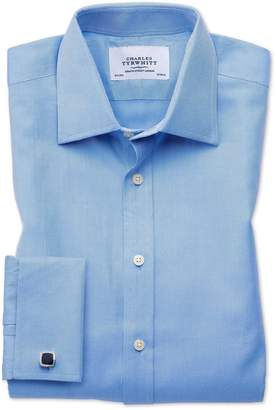 Charles Tyrwhitt Classic Fit Egyptian Cotton Cavalry Twill Blue Dress Shirt French Cuff Size 15/35