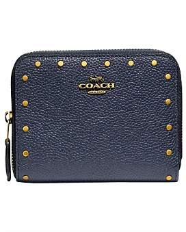 Coach Small Zip Around Wallet With Border Rivets