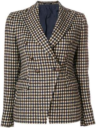 Tagliatore checked lapel detail blazer