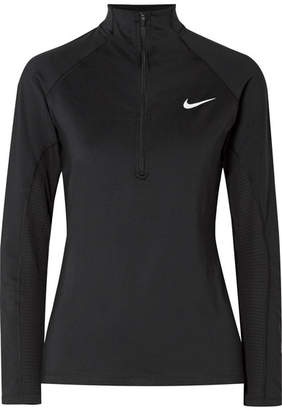Nike Pro Warm Mesh-trimmed Stretch-jersey Top - Black