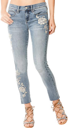 Nicole Miller New York High-Rise Embroidered Raw-Ankle Jeans