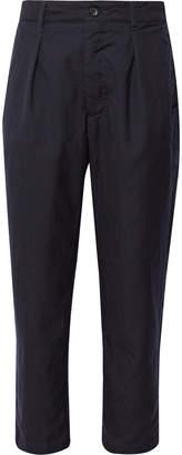 Engineered Garments Navy Pleated Wool Trousers