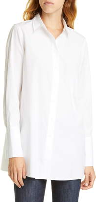 Nordstrom Signature White Cotton Button-Up Blouse