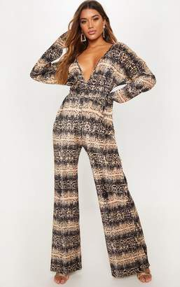 8ad71268fb29 PrettyLittleThing Tan Snake Print Long Sleeve Pleated Jumpsuit