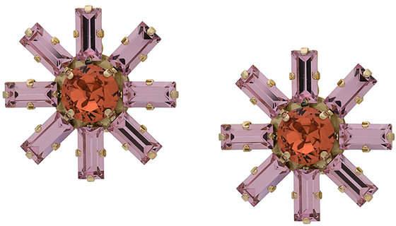 crystal embellished flower earrings