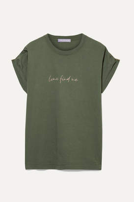 Paradised - Embroidered Cotton-jersey T-shirt - Army green