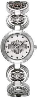 Harley-Davidson The Coin Link Logo Dots Stainless Steel Analog Watch