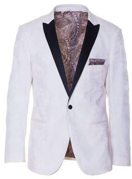 Paisley and Gray Slim-Tailored Contrast Peak Tuxedo Jacket