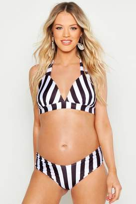 166a7bea3b76d boohoo Maternity Nautical Stripe Bikini Set