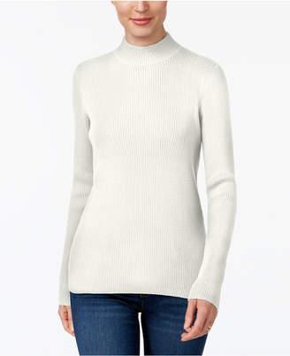 Karen Scott Cotton Ribbed Mock-Neck Sweater, Created for Macy's