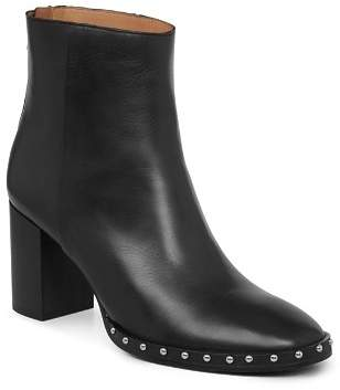 AllSaints Women's Inez Leather Studded Block Heel Booties