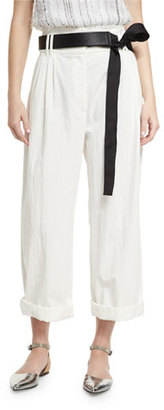 Brunello Cucinelli Lightweight Wide-Leg Cropped Pants, White $1,075 thestylecure.com