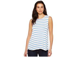 Tribal Striped Jersey Sleeveless High-Low Coming and Going Top Women's Sleeveless
